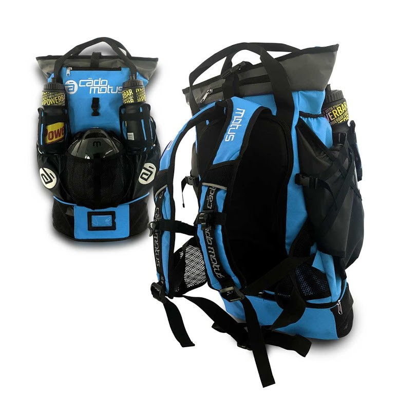 Versatile Rucksack, sports bag for inline ice skaters and also for Triathlon, blau